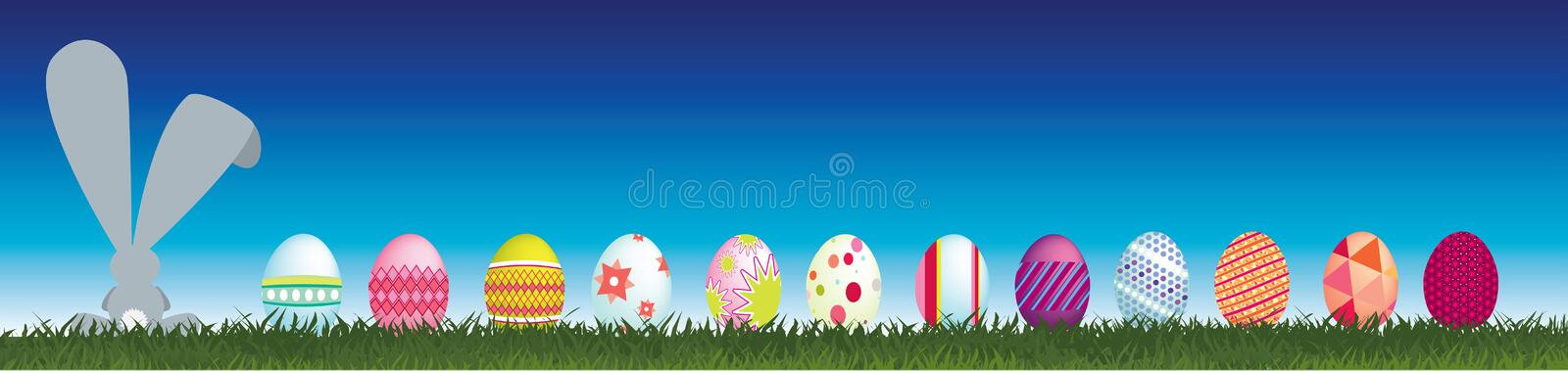 Download Bunny And Easter Eggs Viewed From Behind Stock Illustration - Illustration of kiss, blue: 8183730