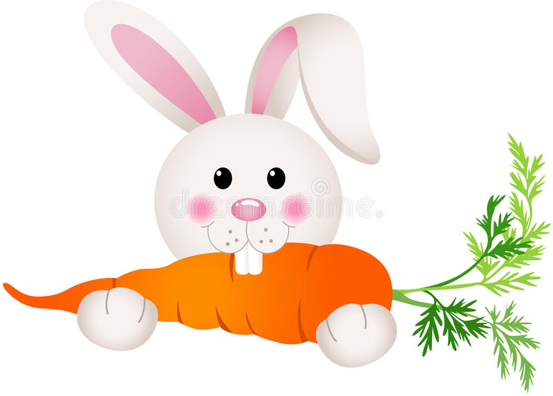 Bunny Eating Carrot stock vector. Illustration of graphic ...