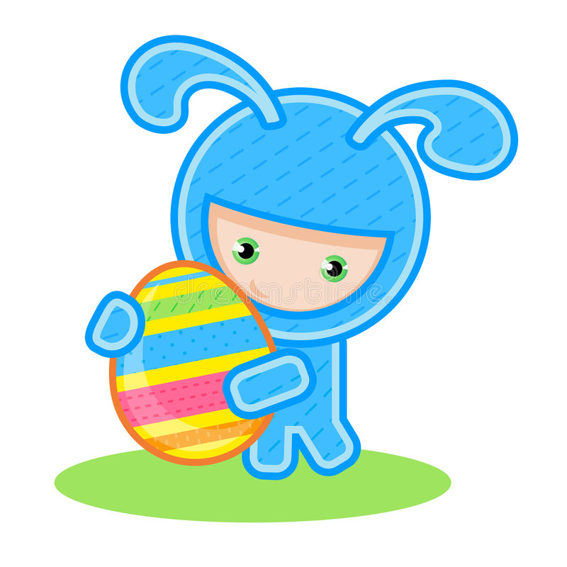 Download Bunny with egg stock vector. Illustration of yellow, manga - 8296997