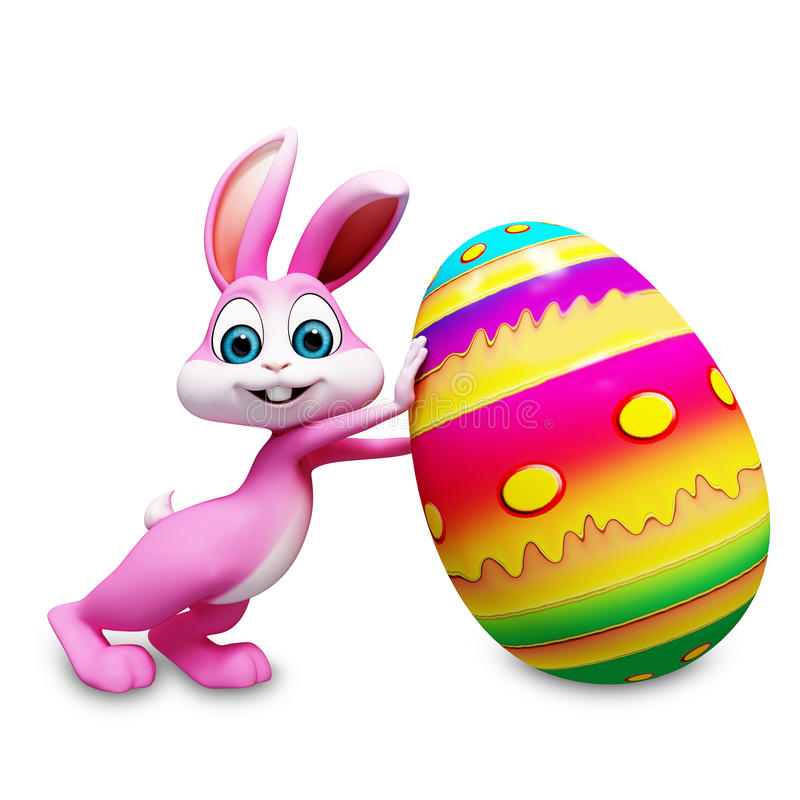 Bunny with egg. Easter happy smart bunny smiling pushing the agg stock illustration