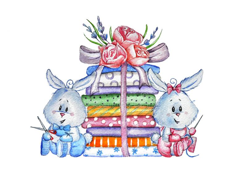 Bunny with fabrics logo royalty free stock photos