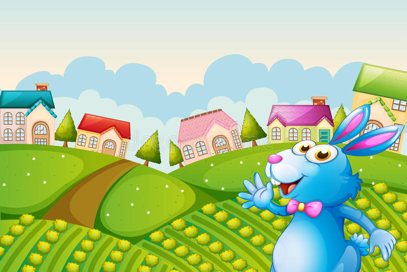 Download A bunny at the field stock vector. Image of image, neighborhood - 33098517