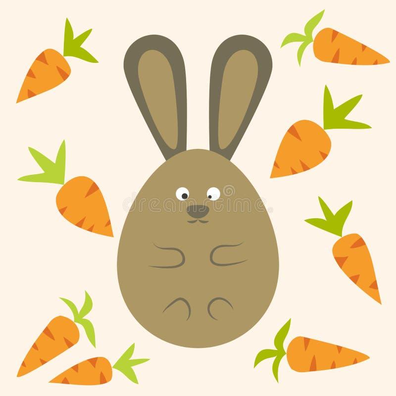 Bunny Flat Stylized Egg Shaped extraño con las zanahorias ilustración del vector