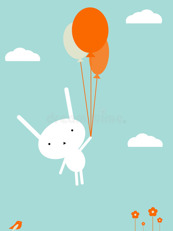 Bunny flight. Cute bunny flying with balloons royalty free illustration