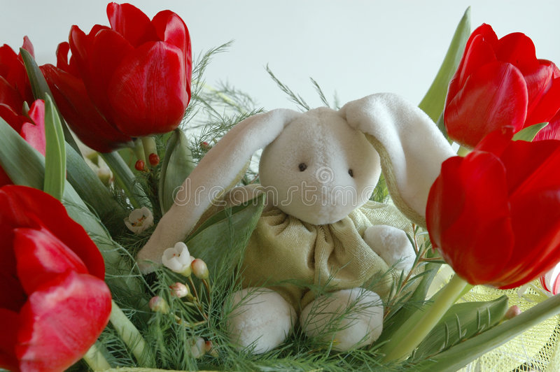 Download Bunny in flowers stock photo. Image of green, plush, easter - 73276