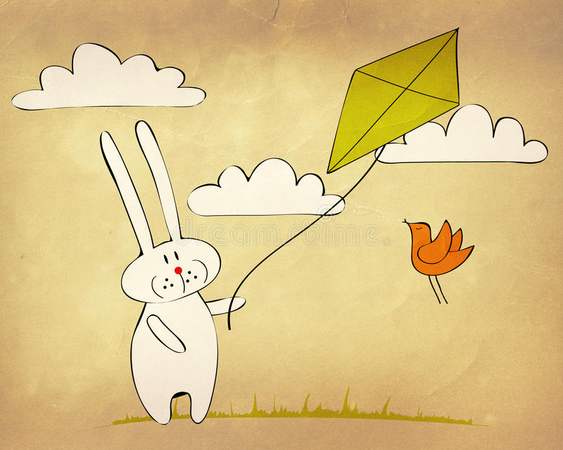 Download Bunny flying a kite stock illustration. Image of drawing - 22973054