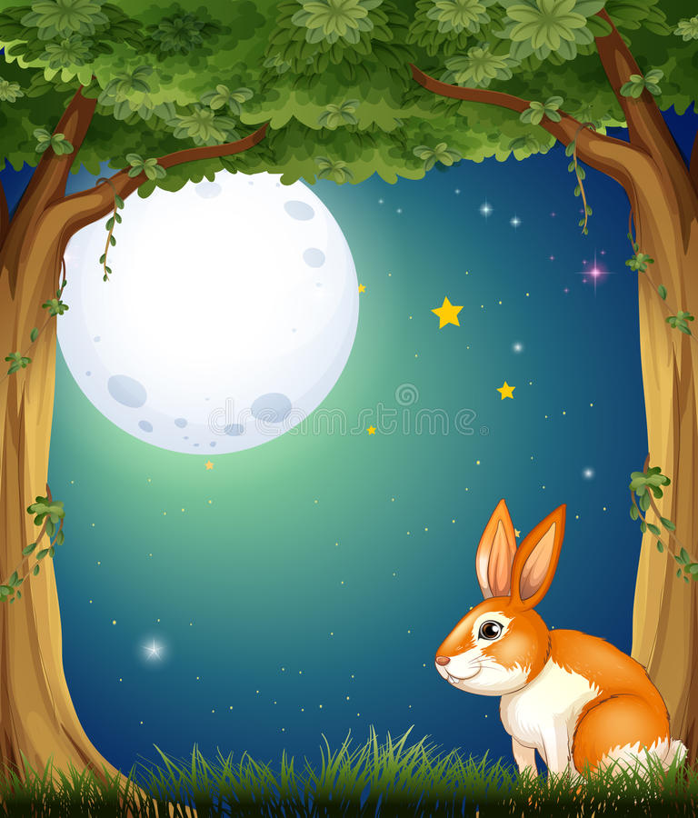 A bunny at the forest under the bright fullmoon vector illustration