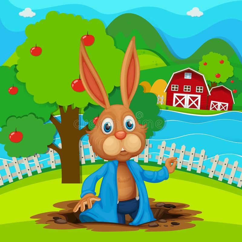A bunny at the garden royalty free illustration