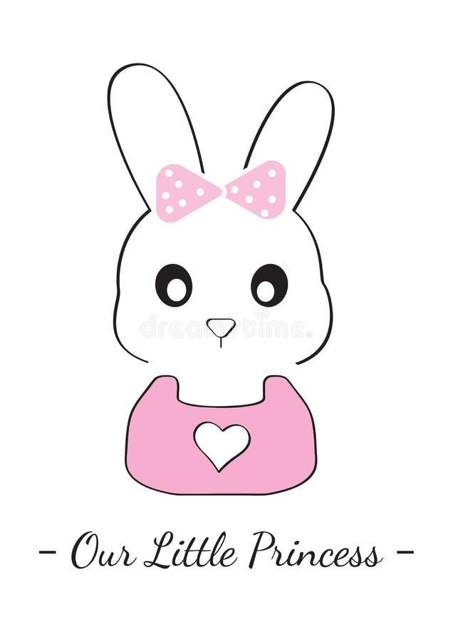 Bunny Girl Illustration, Our Little Princess, Cartoon Bunny Vector Illustration, Cartoon Character Illustration vector illustration