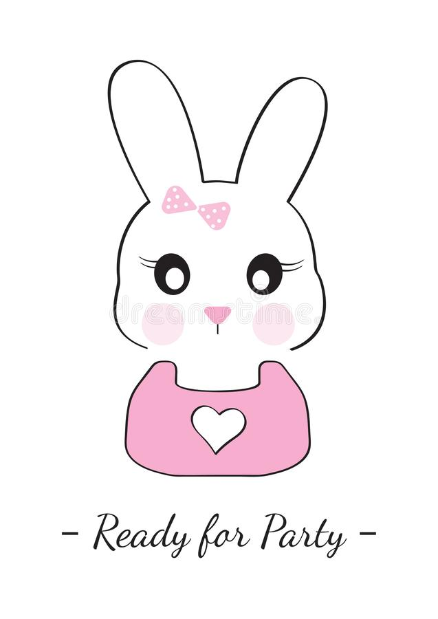 Bunny Girl Illustration, Ready for Party, Cartoon Bunny Vector Illustration, Cartoon Character Illustration stock illustration