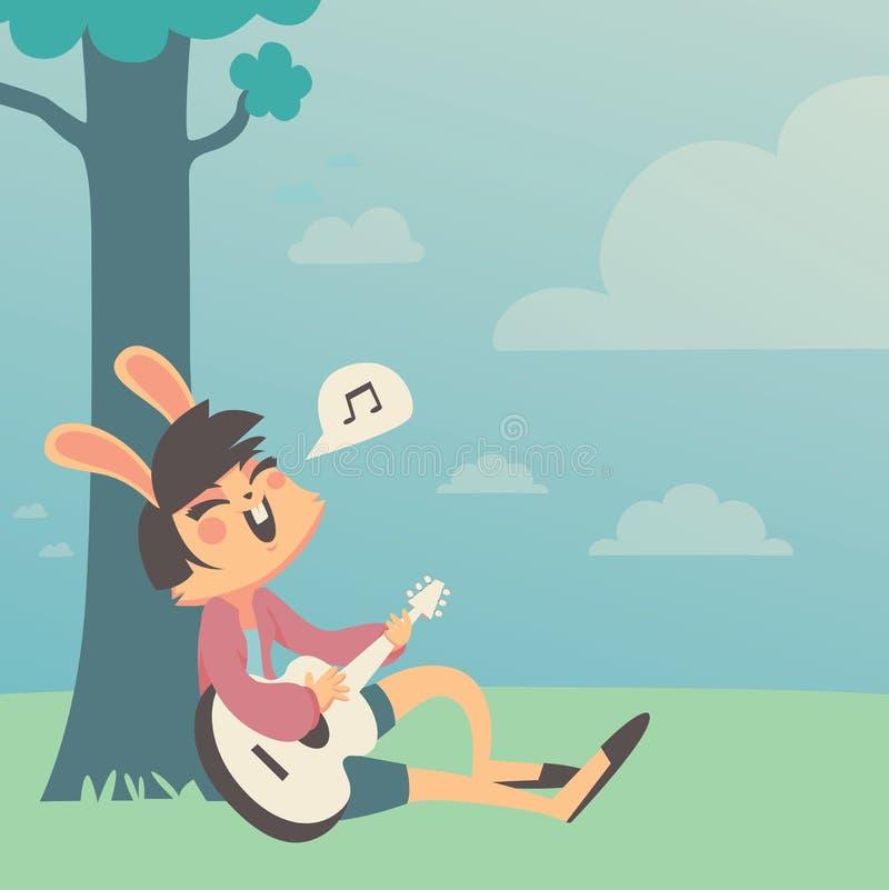 Bunny Girl Singing unter einem Baum vektor abbildung