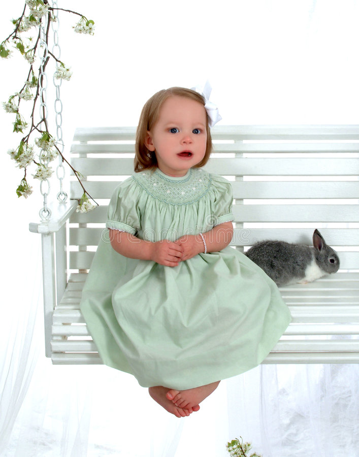 Download Bunny and Girl on Swing stock image. Image of baby, bunnies - 4863215