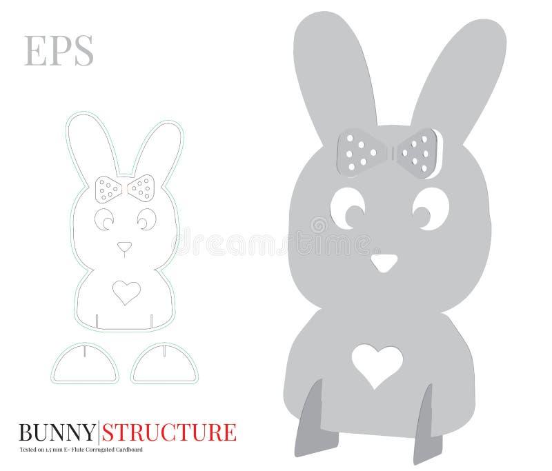 Bunny Girl Template, vecteur avec découpé/laser avec des matrices a coupé des couches Symbole de P illustration stock