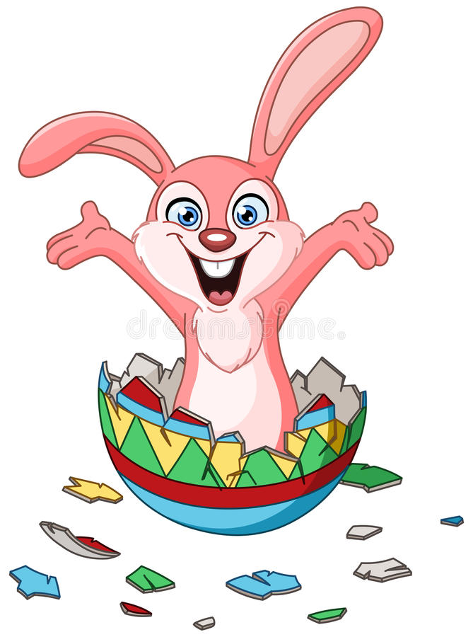 Bunny hatching from Easter egg. Happy bunny hatching from a colorful Easter egg royalty free illustration