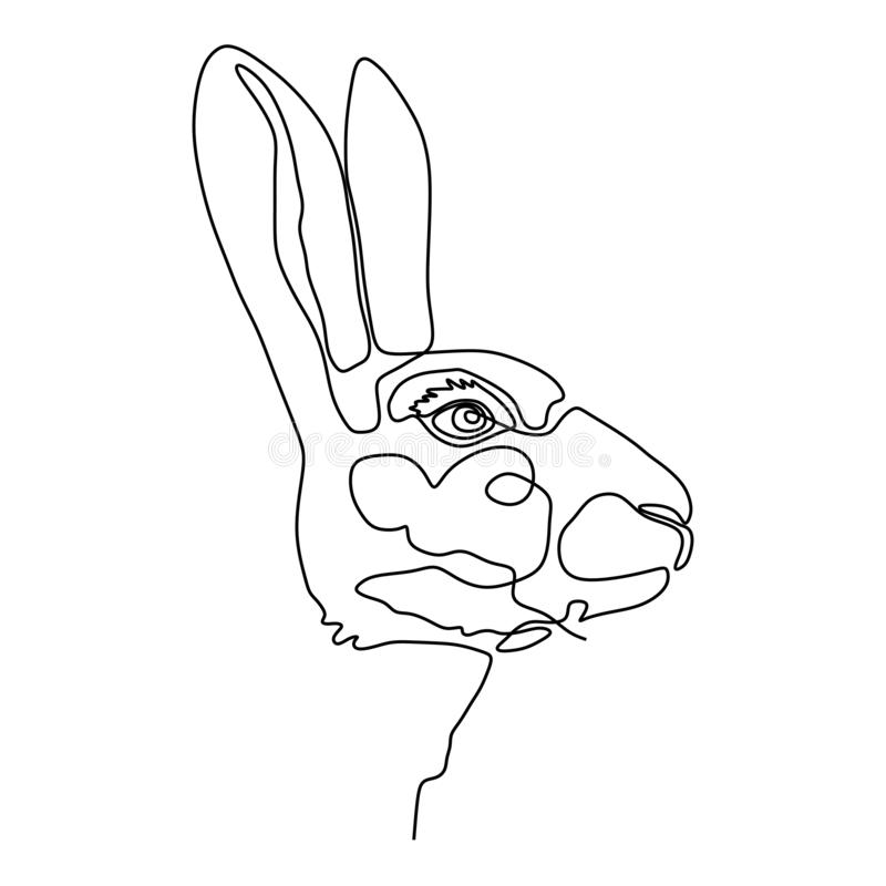 Bunny head continuous line drawing vector illustration