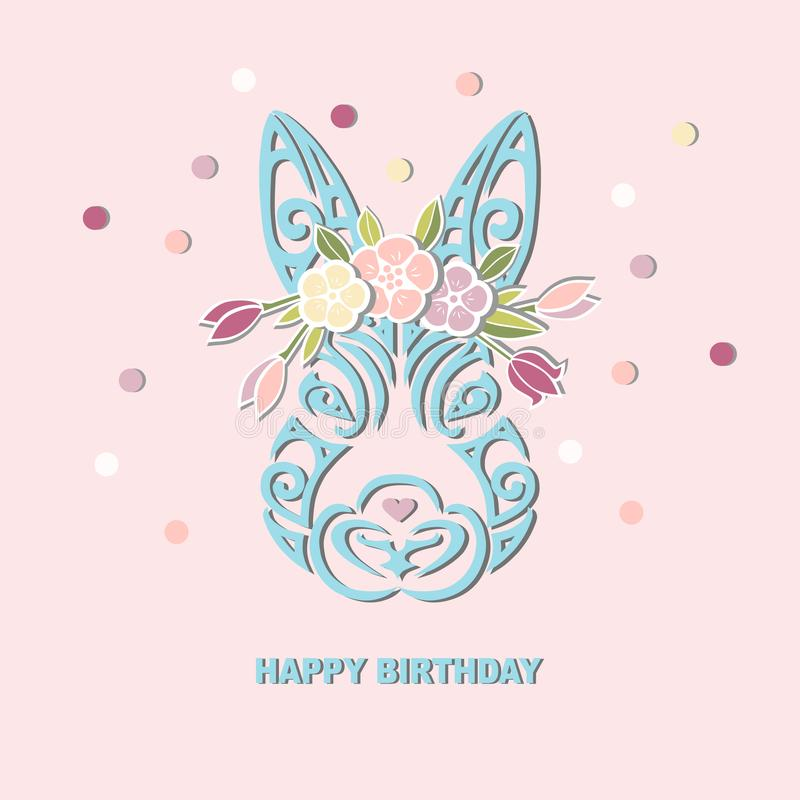 Bunny Head With Floral Wreath Isolated On Background. Stock Vector ...
