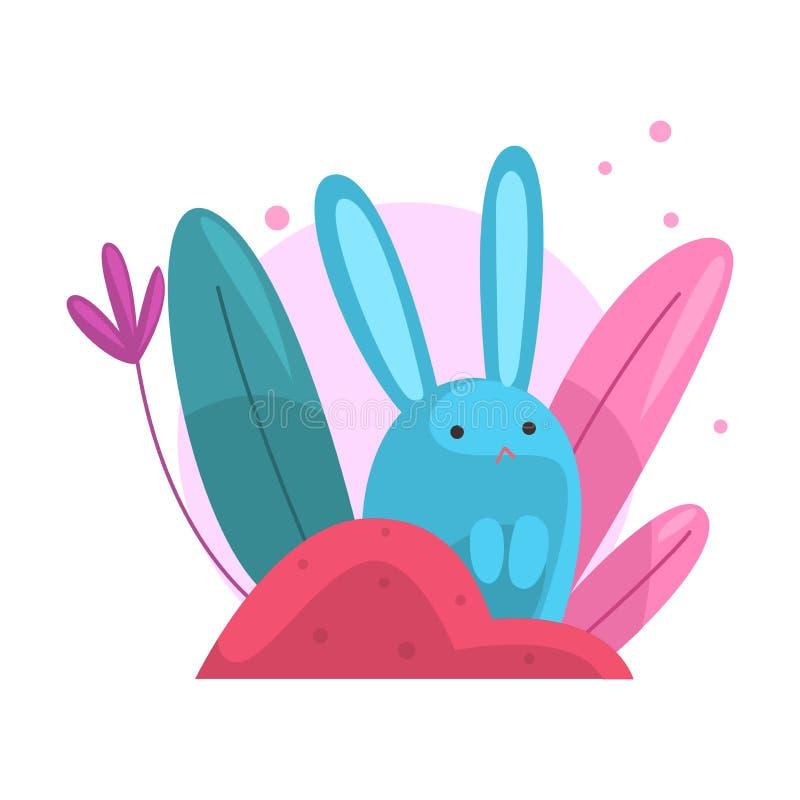 Bunny Hiding adorable lindo y el mirar a escondidas del ejemplo denso colorido del vector de la hierba stock de ilustración
