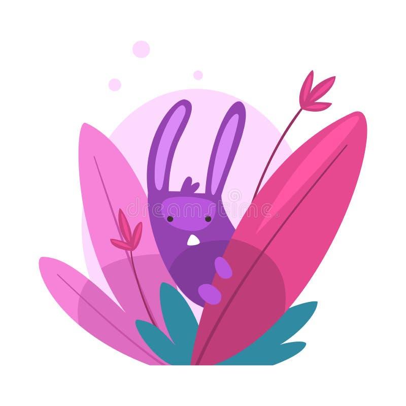 Bunny Hiding divertido lindo y el mirar a escondidas del ejemplo denso colorido del vector de la hierba libre illustration