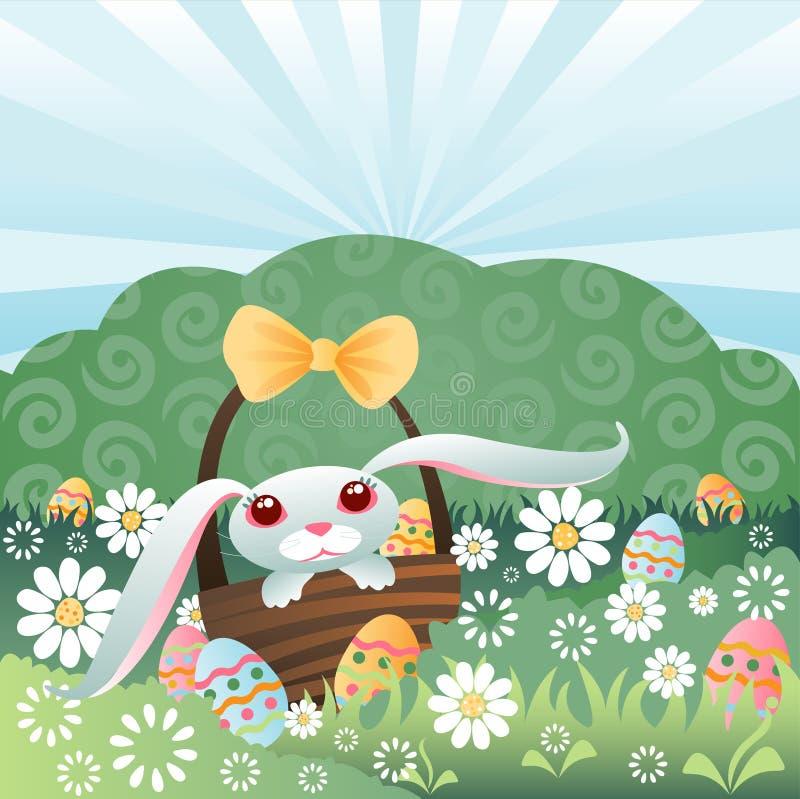 Bunny Hiding Eggs royalty free stock photography