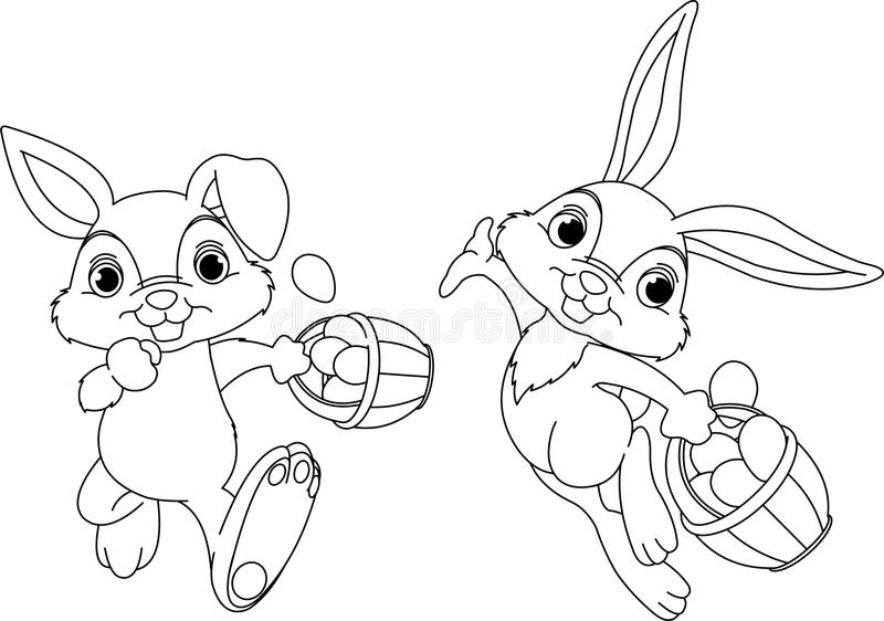 Bunny Hiding Eggs coloring page stock illustration