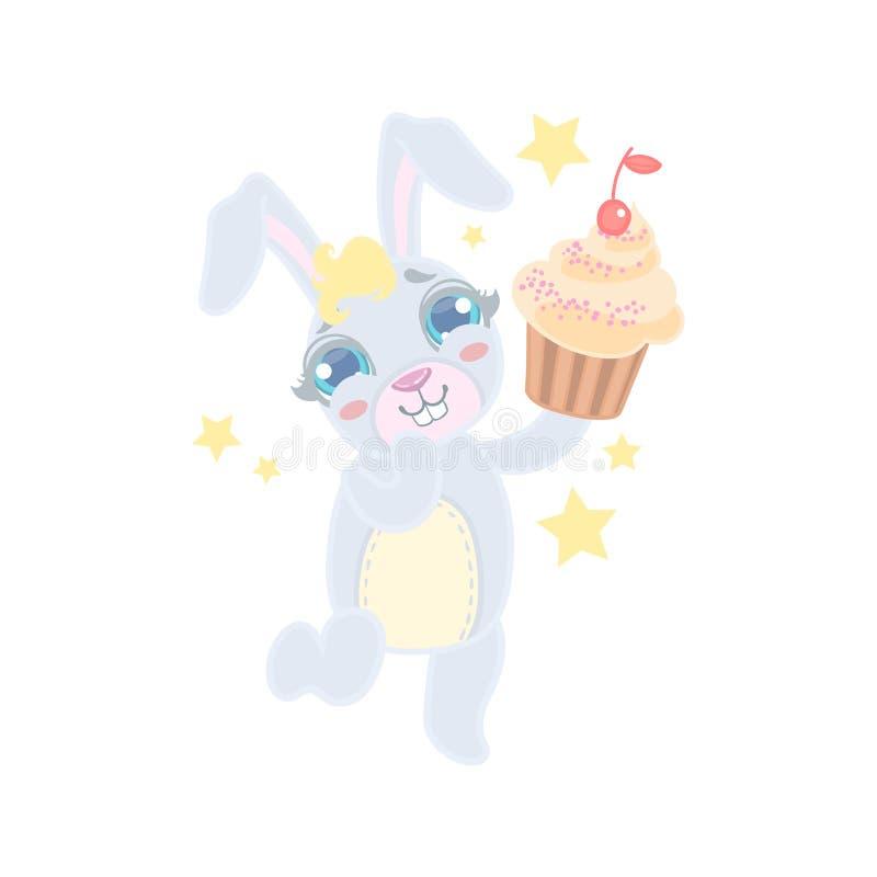 Bunny Holding en muffin stock illustrationer