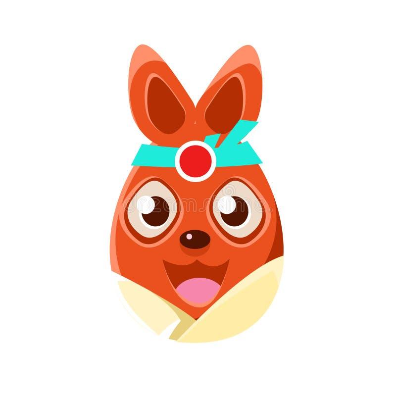 Bunny In Kimono Colorful Girly för påsk för påskägg format orange symbol för religiös ferie stock illustrationer
