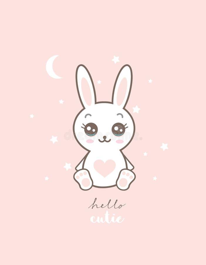 Bunny Nursery Vetora Illustration branco bonito ilustração stock