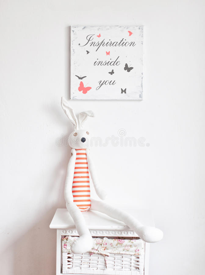 Free Bunny On The Bedside Table Royalty Free Stock Photos - 53452248
