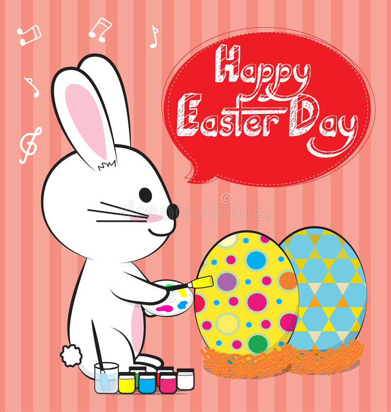 Bunny paint egg. Bunny painting egg for easter day stock illustration