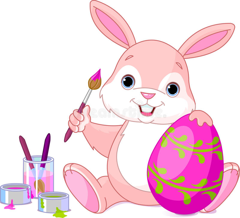 Bunny Painting Easter Egg royalty free illustration