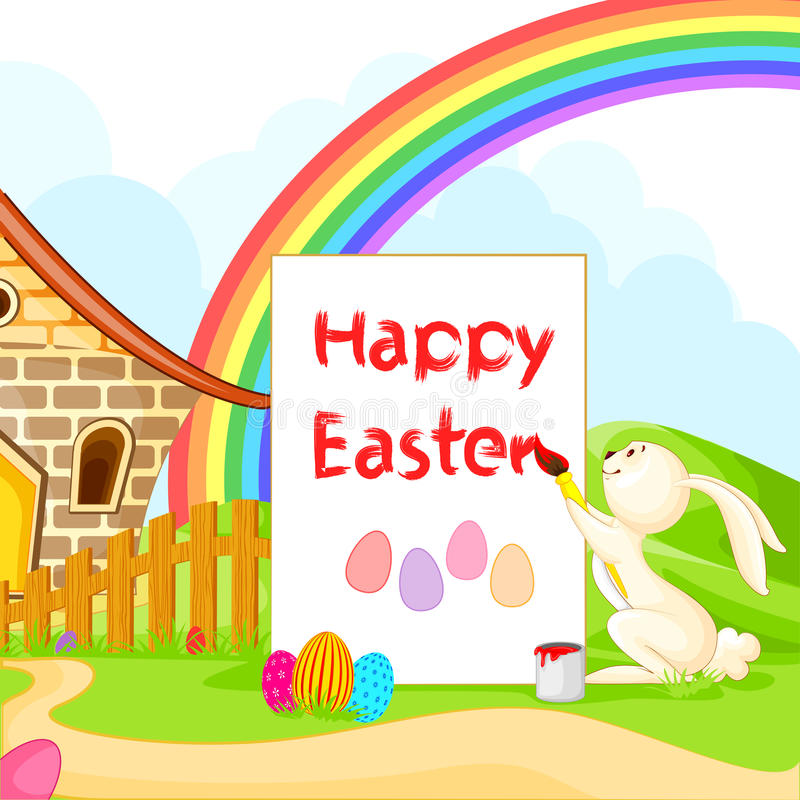 Bunny painting Happy Easter stock illustration