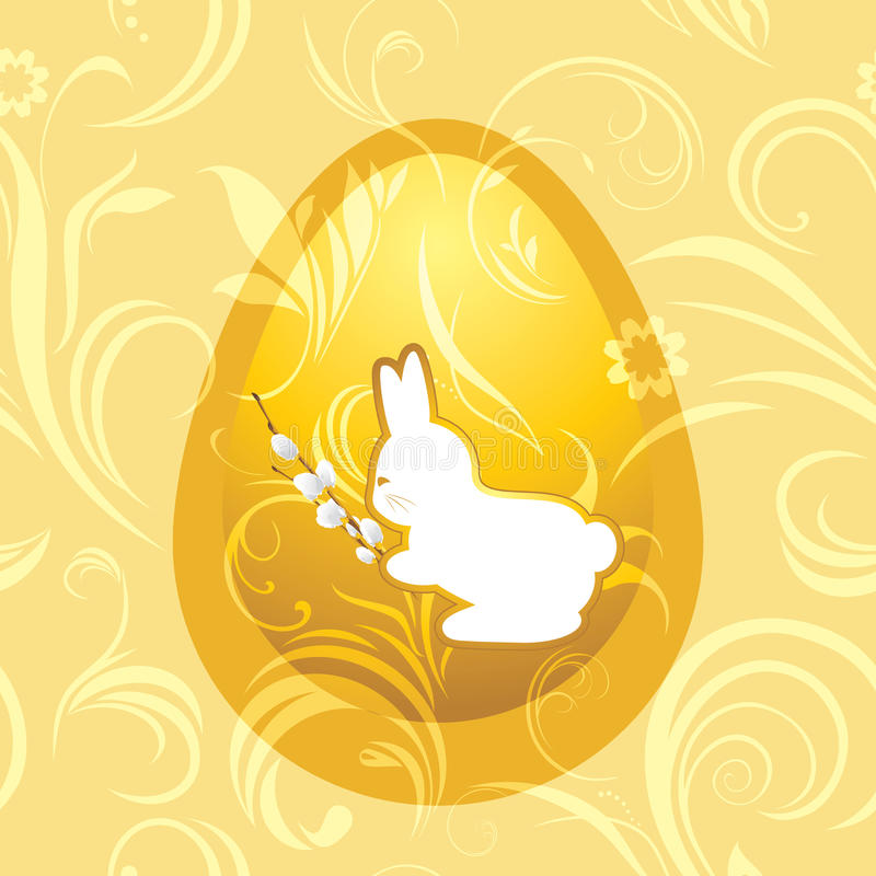 Bunny with willow branch. Easter background stock illustration