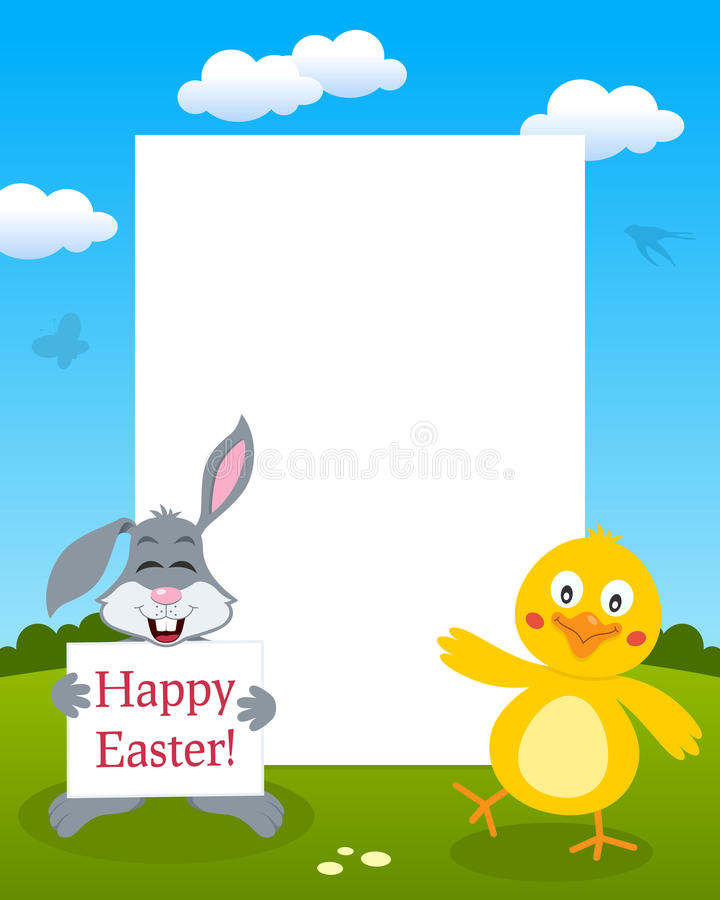 Bunny Rabbit & Chick Photo Frame vector illustratie