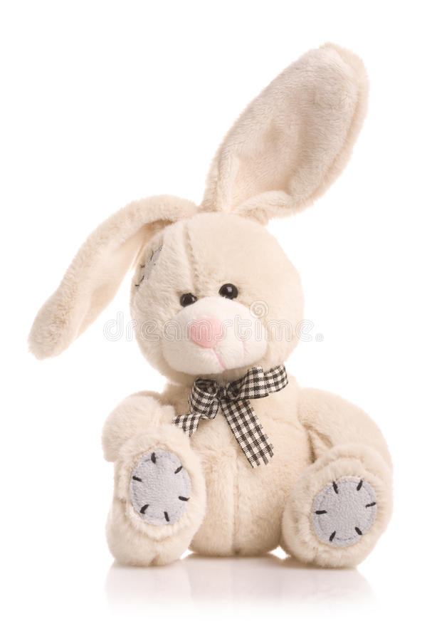 Bunny rabbit cuddly toy. Furry, cuddly, lovable little rabbit toy stock photo