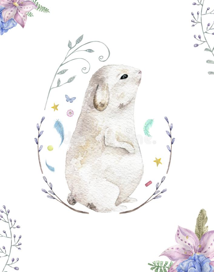 Bunny rabbit with flowers watercolor. Cute spring card. Easter holiday greeting. Nursery painting animal. Forest. Bunny rabbit with flowers watercolor. Cute vector illustration