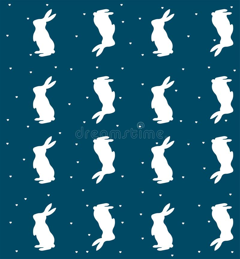 Bunny rabbit, with hearts and repeating pattern vector illustration