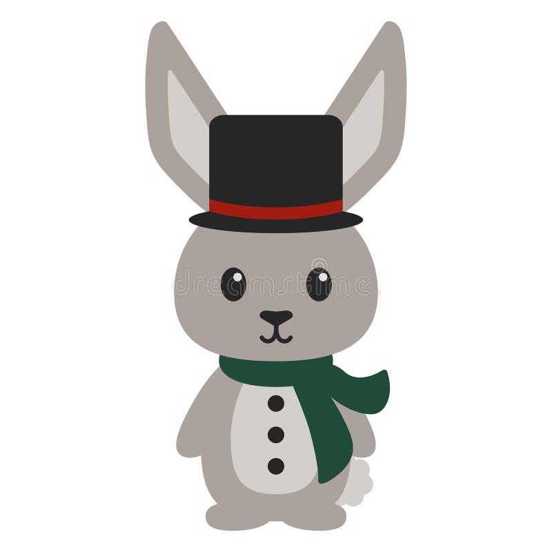 Bunny Rabbit i Carolerdräkt vektor illustrationer