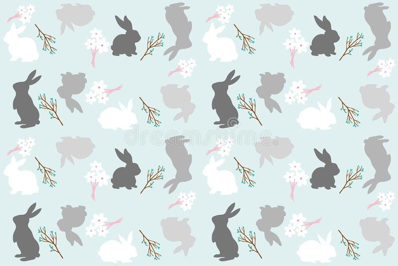 Bunny rabbit, leaves and plants repeating seamless pattern stock illustration