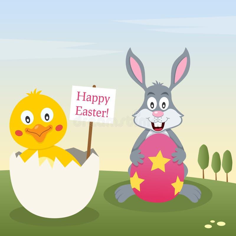 Bunny Rabbit y polluelo con el huevo de Pascua stock de ilustración