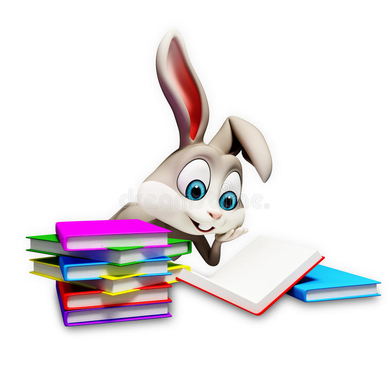 Bunny reading a books. Gray Easter smart bunny reading a books vector illustration
