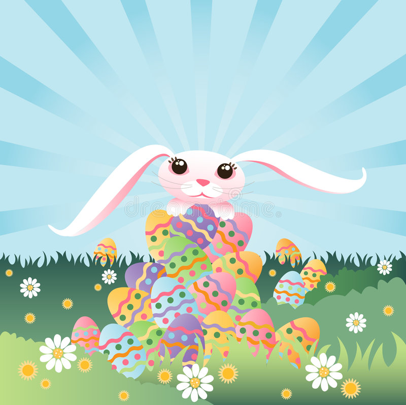 Bunny's Pile of Eggs vector illustration