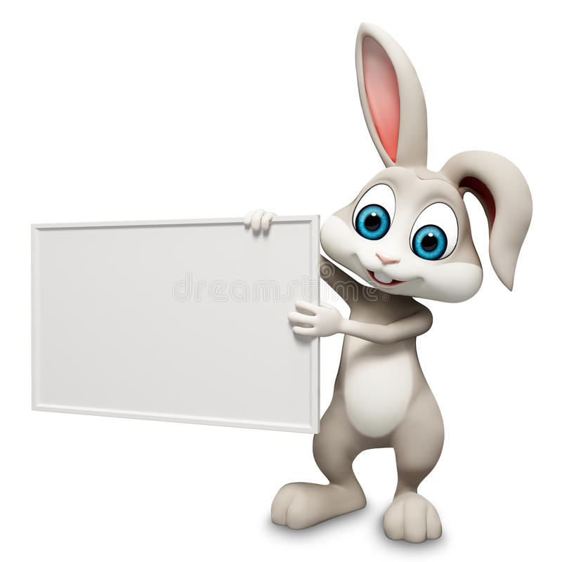 Bunny with sign. Gray Easter smart bunny with sign royalty free illustration