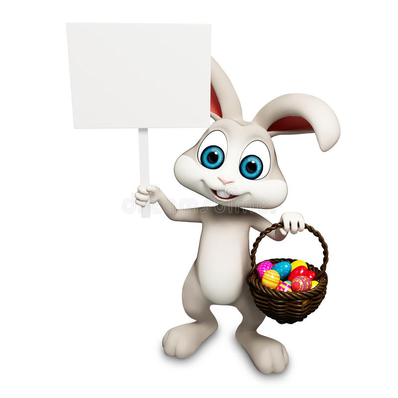 Bunny with sign. Gray Easter smart bunny with sign & aggs bucket vector illustration