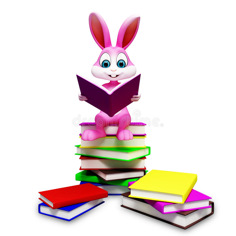 Bunny is sitting on the pile of books vector illustration