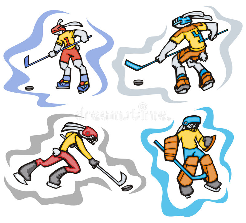 Bunny sport illustrations. Bunny ice hockey. Great for t-shirt designs, mascot logos and other designs. Vinyl-ready stock illustration