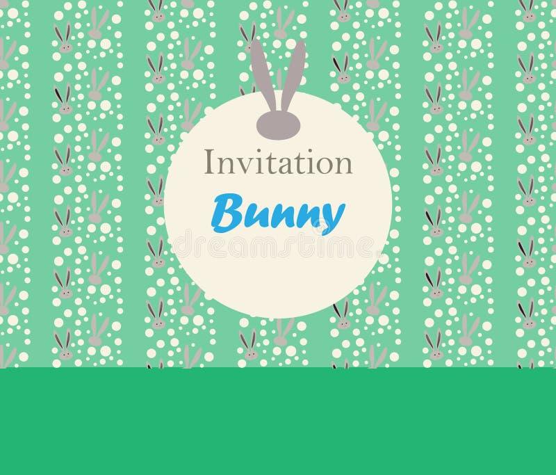 Bunny Spring Holiday Invitation illustration stock