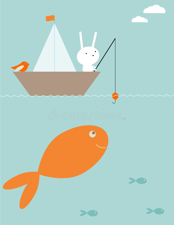 Bunny surprise fishing vector illustration