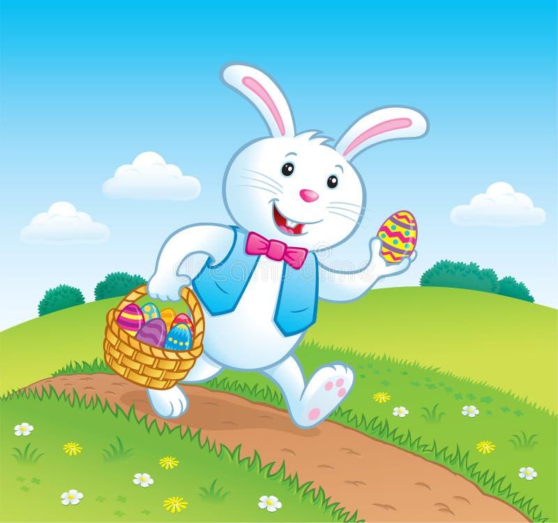 Bunny On Trail met Pasen-Mand met Eieren vector illustratie
