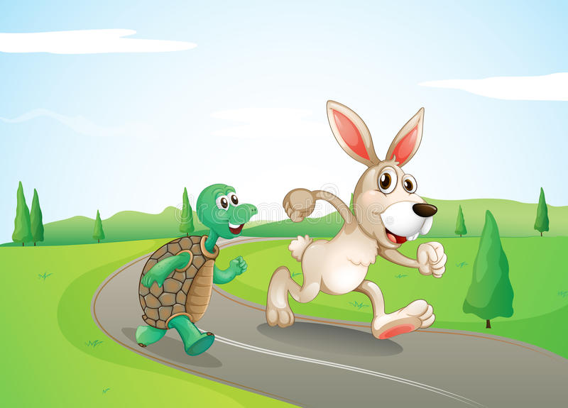 A bunny and a turtle running along the road. Illustration of a bunny and a turtle running along the road stock illustration