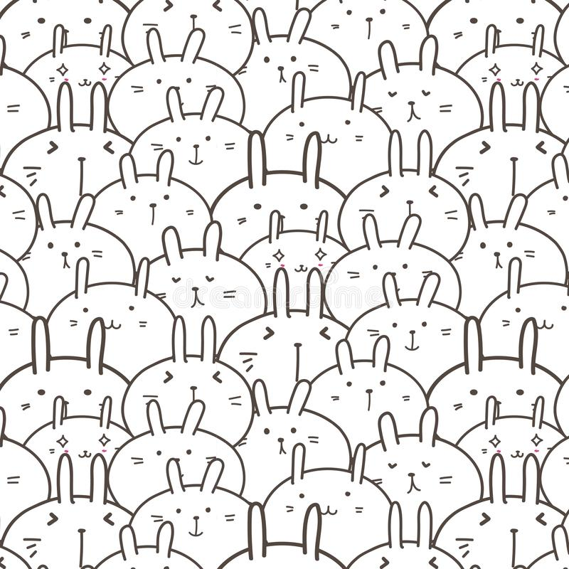 Bunny Vector Pattern Background lindo Doodle divertido stock de ilustración